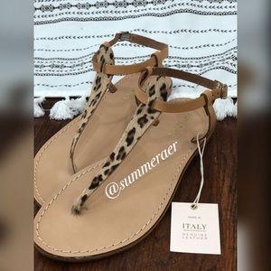 NWT Sophia Milano Leather Leopard T-strap Sandals